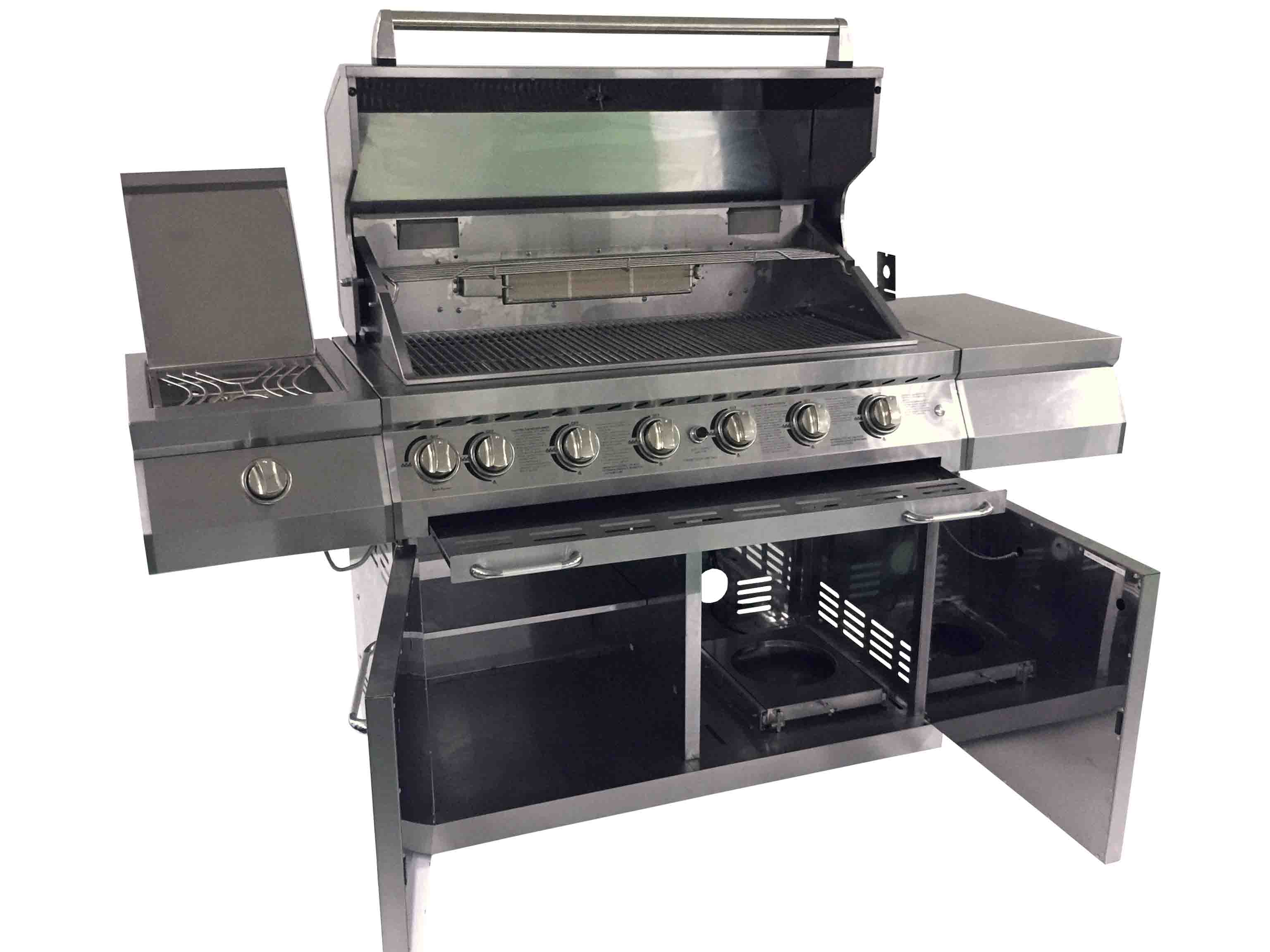 edelstahl gasgrill 6 brenner jumbo grill grillwagen griller backburner keramik 4 ebay. Black Bedroom Furniture Sets. Home Design Ideas